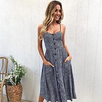 Blue and White Long Buttoned Sundress