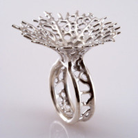 Silver Hyphae Ring by Nervous System