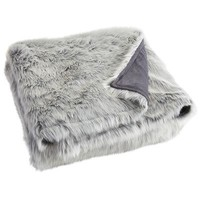 Oversized Ombre Faux Fur Throw - Gray