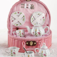 Childrens Porcelain Tea Set in Rounded Wicker Style Basket  - Birdhouse