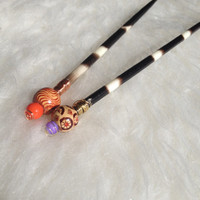 Genuine Porcupine Quill Hair Stick - Handmade, Wire Wrapped, Beaded, Ethically Harvested, South African, Exotic, Unique, Tribal, Striped