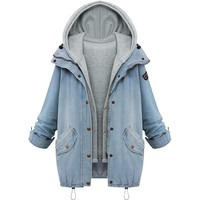 Trendy Autumn Winter Fashion Women 2 Two Piece Set Denim Jacket Hooded jacket Oversized Casual Basic Coats Outerwear Light Blue Abrigos AT_94_13