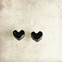 Unisex Black Heart Post Earrings Porcelain Halloween Tiny Ceramic Studs Heart Pottery Surgical Steel Post