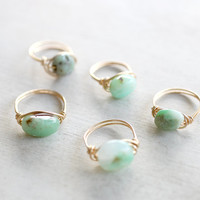 Gold Wire Wrapped Chrysoprase Stone Ring