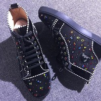 DCCK Christian Louboutin red sole classic rivet Roller Boat CL with masonry high top sneakers 90513