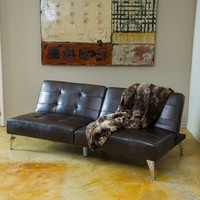 Lenny 2pc Brown Leather Clik-Clak Sofa Couch