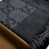 ONETOW Gucci Brown/Beige Cashmere / Wool Throw Blanket 100% Authentic