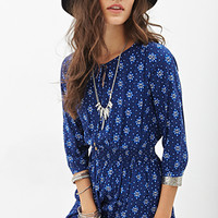 FOREVER 21 Abstract Print Peasant Dress