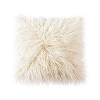 OJIA Deluxe Home Decorative Super Soft Plush Mongolian Faux Fur Throw Pillow Cover Cushion Case (18 x 18 Inch, Beige)