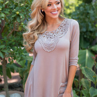 Filled with Details Embroidered Tunic Top Taupe