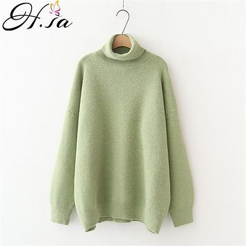 H.SA Women's Turtleneck Sweaters 2021 Thick Warm Pullover Cashmere Jumper Soft Oversized Knitwear Sweater Korean Women Jumpers
