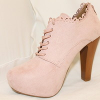 Ankle Booties Pastel Pink Blush Rosy Suede Like Lace Up Style Boots Womens Shoes
