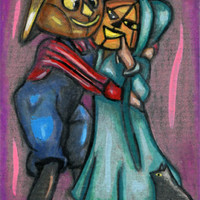 original aceo art pumpkin people couple Halloween costume miniature black cat