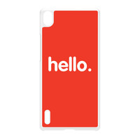 Hello White Hard Plastic Case for Huawei P7 by textGuy