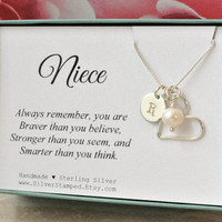 Gift for Niece necklace sterling silver initial heart freshwater pearl necklace unique personalized niece's birthday gift niece jewelry