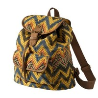 Mossimo Supply Co. Yellow Aztec Printed Canvas Backpack