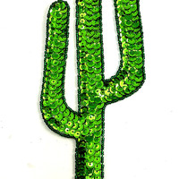 """Cactus with Green Sequins and Beads 9"""" x 3.25"""""""