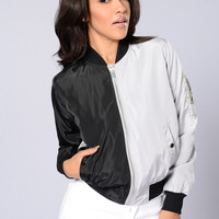 Two Faced Bomber Jacket - Black/Grey