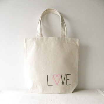 """Love Tote Bag - """"Love"""" hand written with a pink heart on a 13""""x 13"""" Tote Bag - Valentines Day Tote Bag"""