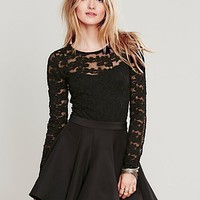Free People Womens Tight Floral Lace Pullover