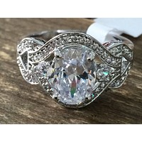 A Vintage Style 4.5CT Perfect Oval Cut Halo Russian Lab Diamond Engagement Ring