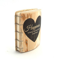 Personalized Journal or small wood Wedding Guest Book  // Anniversary gift  // Happiness is being married to your best friend