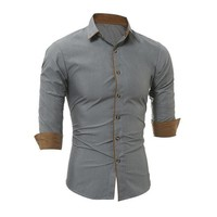 DCCKON3 New Mens Long Sleeve Fit Slim Casual Social Blouse Tops 2018 Spring Autumn Button Turn-down Collar Formal Dress Shirts Camisas