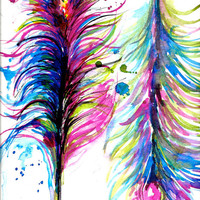 Feathers Print from Watercolor Abstract Peacock Feathers Illustration by Lana Moes