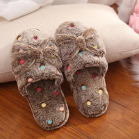 2016 Fashion Woman Kawaii Shoes Fluffy Home Slippers Bowtie Indoor Plush Slippers Cute Female House Shoes Zapatillas Pantufas