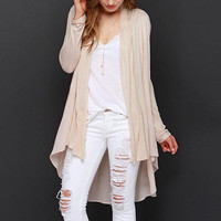 Beige Fork-Tail Cardigan