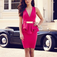 Collections - Pink Sleeveless V-neck Dress with Gold Belt - Summer Closeout