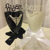 Wedding toast glasses dress and tuxedo, Mr. and Mrs. wedding glasses, black and white wedding, engagement glasses, bridal shower glass