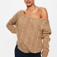 Missguided - Camel Off The Shoulder Cable Detail Sweater