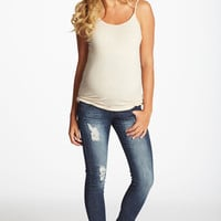 Navy Blue Distressed Maternity Skinny Jeans