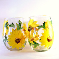 Daisy Wine glasses Stemless Bridal Shower Favors~ Wedding Favors set of 2