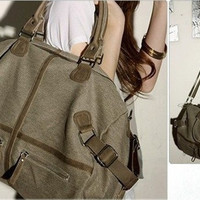 New Men Women Vintage Canvas Duffel Messenger Satchel Briefcase Tote School Bag handbag = 1946791876