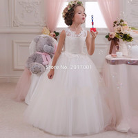 Lovey Elegant Princess Flower Girl Dresses 2016 Sleeveless Ball Gown Tulle Pageant Dresses First Communion Dresses For Girls