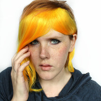 Yellow Clip in Bangs / Fringe: Dyed Effect // Yellow Orange Hair // Scene Emo Punk Rock // Extension Add On Hair Piece // Canary