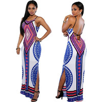 Women's Sexy Backless Bandage Dashiki Boho Long Purple Blue White Red Party Bodycon Summer Maxi Sun Dress