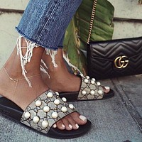 Gucci Summer Popular Women Leisure Pearl Rivet Point Sandal Slipper Shoes I