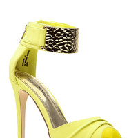 Lemon Faux Nubuck Gold Ankle Strap Open Toe Heels