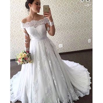 New Style Wedding Dress Off The Shoulder Sleeves, Bridal Gown ,Dresses For Brides, PM0044