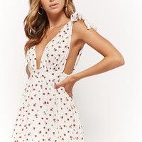 Self-Tie Ditsy Floral Dress