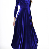 Blue Velvet Long Sleeve Party Dress
