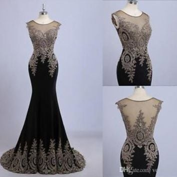 2015 Sexy Lace Long Formal Evening Dress Women Mermaid Celebrity Prom Party Gown
