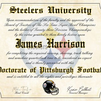 "Pittsburgh Steelers Ultimate Football Fan Personalized Diploma 8.5"" x 11"" Parchment Paper"