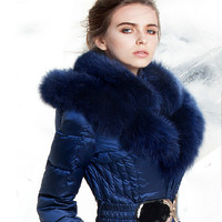 Luxury Fox Fur Hooded Parka For Women Winter 2017 Royal Blue Thick Warm Winter White Duck Down Jacket Women Medium Long Coats
