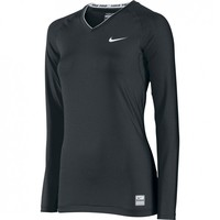 Nike Women's Pro Core Tight Compression Long Sleeve V-Neck Top | Scoreboard Sports