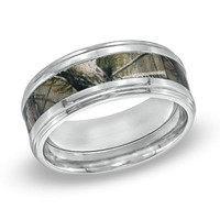 Men's 9.0mm RealTreeAP™ Camouflage Inlay Comfort Fit Titanium Wedding Band - Size 10 - View All Rings - Zales