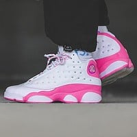 "NIKE Air Jordan 13 AJ 13 Retro ""Atmosphere Grey"" Women's Combat Basketball Shoes White Pink"